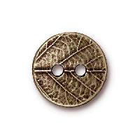 TierraCast Button Round Leaf - Antique Brass