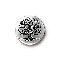 TierraCast Button Tree Of Life - Silver Plated