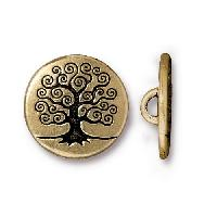 TierraCast Button Tree Of Life - Antique Gold