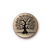 TierraCast Button Tree Of Life - Antique Brass