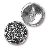TierraCast Button Bamboo - Silver Plated