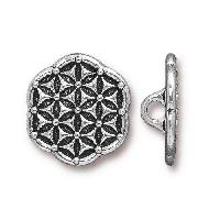 TierraCast Button Flower Of Life - Silver Plated