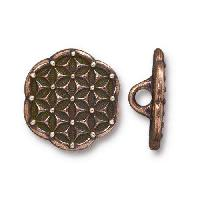TierraCast Button Flower Of Life - Antique Copper