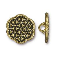 TierraCast Button Flower Of Life - Antique Gold