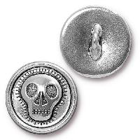 TierraCast Button Skully - Silver Plated
