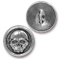 TierraCast Button Scary Skull - Silver Plated