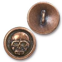 TierraCast Button Scary Skull - Antique Copper