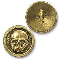 TierraCast Button Scary Skull - Antique Gold
