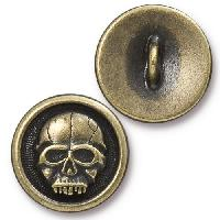 TierraCast Button Scary Skull - Antique Brass