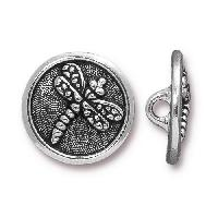 TierraCast Button Dragonfly - Silver Plated