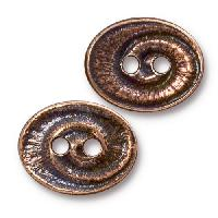 TierraCast Button Oval Swirl - Antique Copper