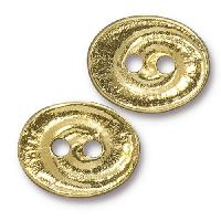 TierraCast Button Oval Swirl - Gold Plated