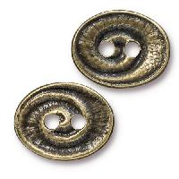TierraCast Button Oval Swirl - Antique Brass