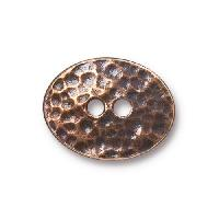 TierraCast Button Oval Distressed - Antique Copper
