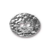 TierraCast Button Oval Distressed - Silver Plated