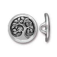 TierraCast Button Bird in a Tree - Silver Plated