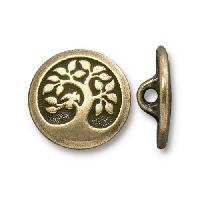 TierraCast Button Bird in a Tree - Antique Brass