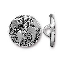 TierraCast Button Earth - Silver Plated