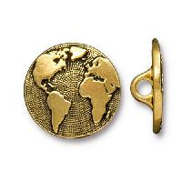 TierraCast Button Earth - Antique Gold