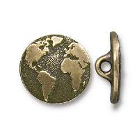 TierraCast Button Earth - Antique Brass