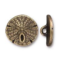 TierraCast Button Sand Dollar - Antique Brass