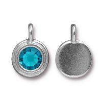 TierraCast Charm Stepped Swarovski SS34 BLUE ZIRCON - Silver Plated