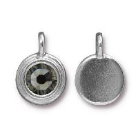 TierraCast Charm Stepped Swarovski SS34 BLACK DIAMOND - Silver Plated