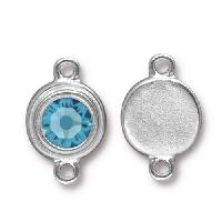 TierraCast Link Stepped Swarovski SS34 AQUAMARINE - Silver Plated