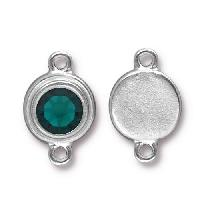 TierraCast Link Stepped Swarovski SS34 EMERALD - Silver Plated