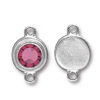 TierraCast Link Stepped Swarovski SS34 ROSE - Silver Plated