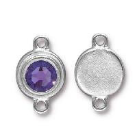 TierraCast Link Stepped Swarovski SS34 TANZANITE - Silver Plated