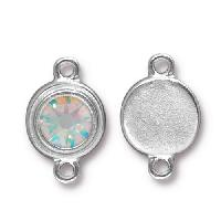 TierraCast Link Stepped Swarovski SS34 CRYSTAL AB - Silver Plated