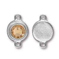 TierraCast Link Stepped Swarovski SS34 LT COLORADO TOPAZ - Silver Plated