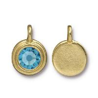TierraCast Charm Stepped Swarovski SS34 AQUAMARINE - Gold Plate