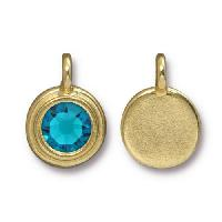 TierraCast Charm Stepped Swarovski SS34 BLUE ZIRCON - Gold Plated