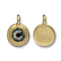 TierraCast Charm Stepped Swarovski SS34 BLACK DIAMOND- Gold Plated