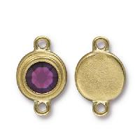 TierraCast Link Stepped Swarovski SS34 AMETHYST - Antique Gold