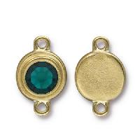 TierraCast Link Stepped Swarovski SS34 EMERALD - Antique Gold