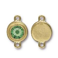 TierraCast Link Stepped Swarovski SS34 PERIDOT - Antique Gold