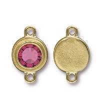 TierraCast Link Stepped Swarovski SS34 ROSE - Antique Gold