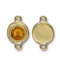 TierraCast Link Stepped Swarovski SS34 TOPAZ - Antique Gold
