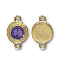 TierraCast Link Stepped Swarovski SS34 TANZANITE - Antique Gold