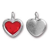 TierraCast Charm Heart LIGHT SIAM - Silver Plated