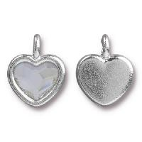TierraCast Charm Heart CRYSTAL - Silver Plated