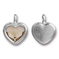 TierraCast Charm Heart LIGHT SILK - Silver Plated