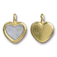 TierraCast Charm Heart CRYSTAL - Gold Plated