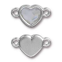 TierraCast Link Heart CRYSTAL - Silver Plated
