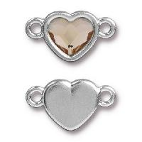 TierraCast Link Heart LIGHT SILK - Silver Plated
