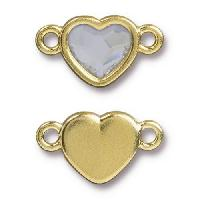 TierraCast Link Heart CRYSTAL - Gold Plated