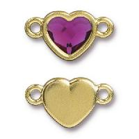 TierraCast Link Heart FUCHSIA - Gold Plated